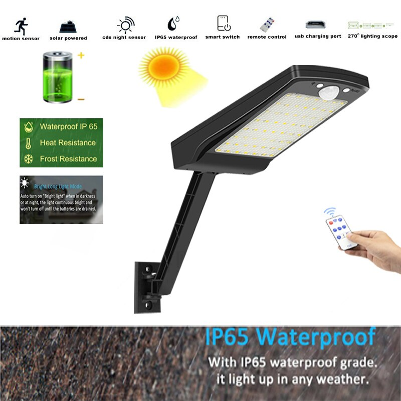 Led Solar Light Outdoor Waterproof Lightg for Garden street 56 led 3 Modes Rotable Pole Lamp remote