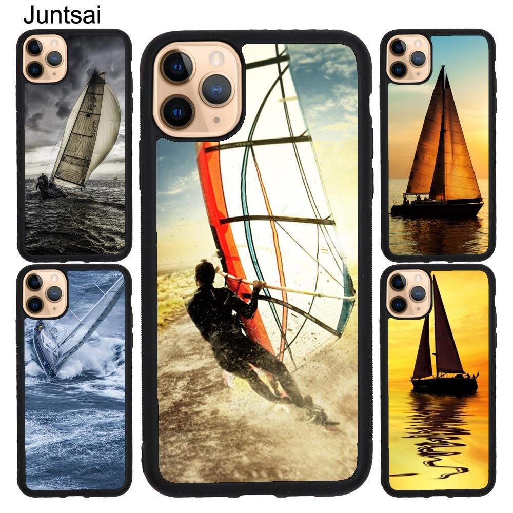 Caso de barco à vela esportes radicais para iphone x xr xs max 5S se 2020 6 s 8 7 plus 11 pro max borracha volta capa