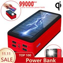 99000mah sem fio banco de energia solar carregador portátil grande capacidade 4usb ledlight ao ar livre carregamento rápido powerbank xiaomi iphone