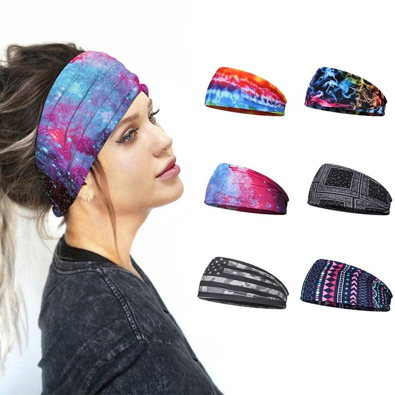 Diadema deportiva con turbante ancho impreso para mujer y niña, bandas para la cabeza del cabello, deportes de Fitness, Yoga, voleibol, accesorios de bandas para el cabello