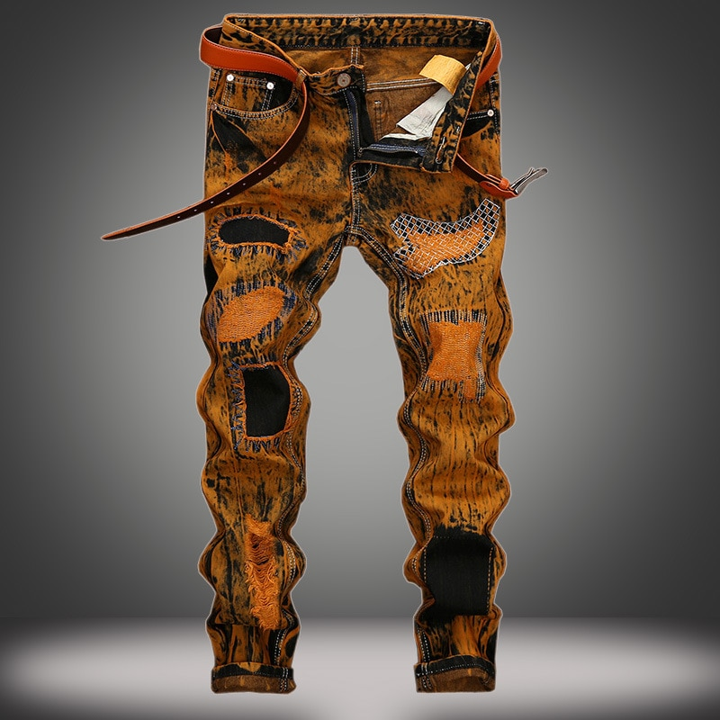 Мужские рваные джинсы в стиле ретро, прямые мужские джинсы со сломанными дырками
