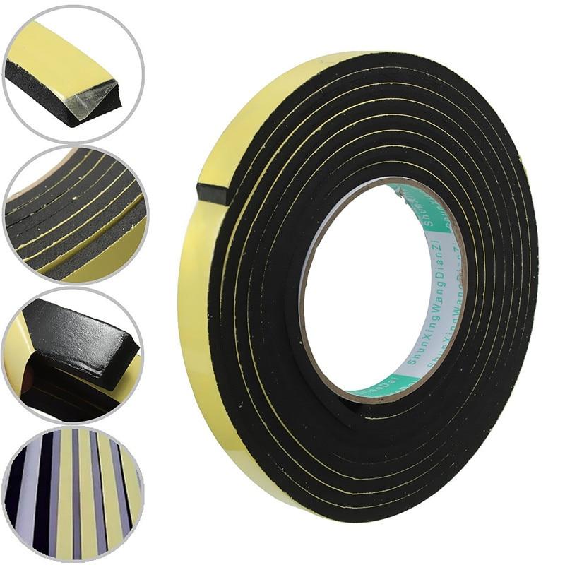 5M 3/2x10mm Door Seal Strip Single Sided Adhesive Waterproof Stripping Foam Sponge Rubber Strip Tape For Window Seal Door Seal