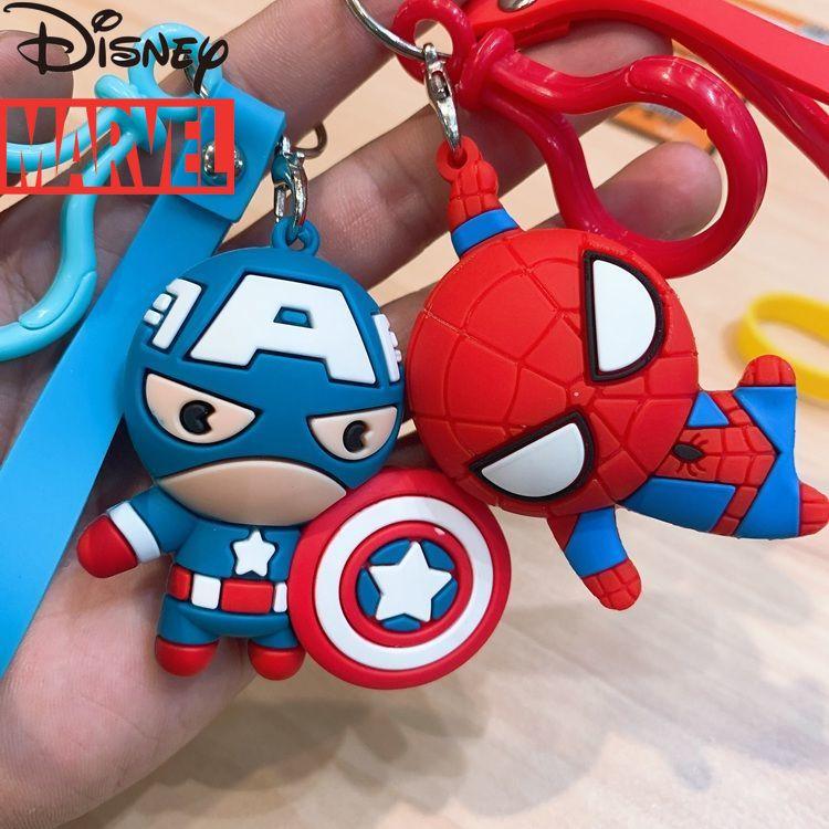 Disney Marvel Cartoon Car Keychain Spiderman Captain America Schoolbag Pendant Ornaments Cute Couple