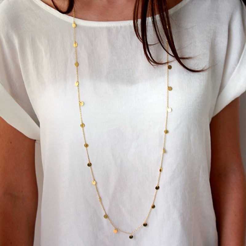 120 CM Bohemia Long Neckace Trendy Women Jewery Statement Neckace Personaity Gold Sequins Pendant Maxi Collar Chain