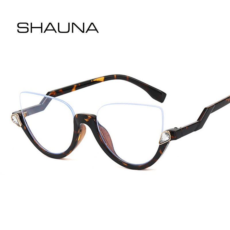 SHAUNA Classic Crystal Half Frame Sunglasses Women Fashion Anti-Blue Light Cat Eye Optical Frames Co