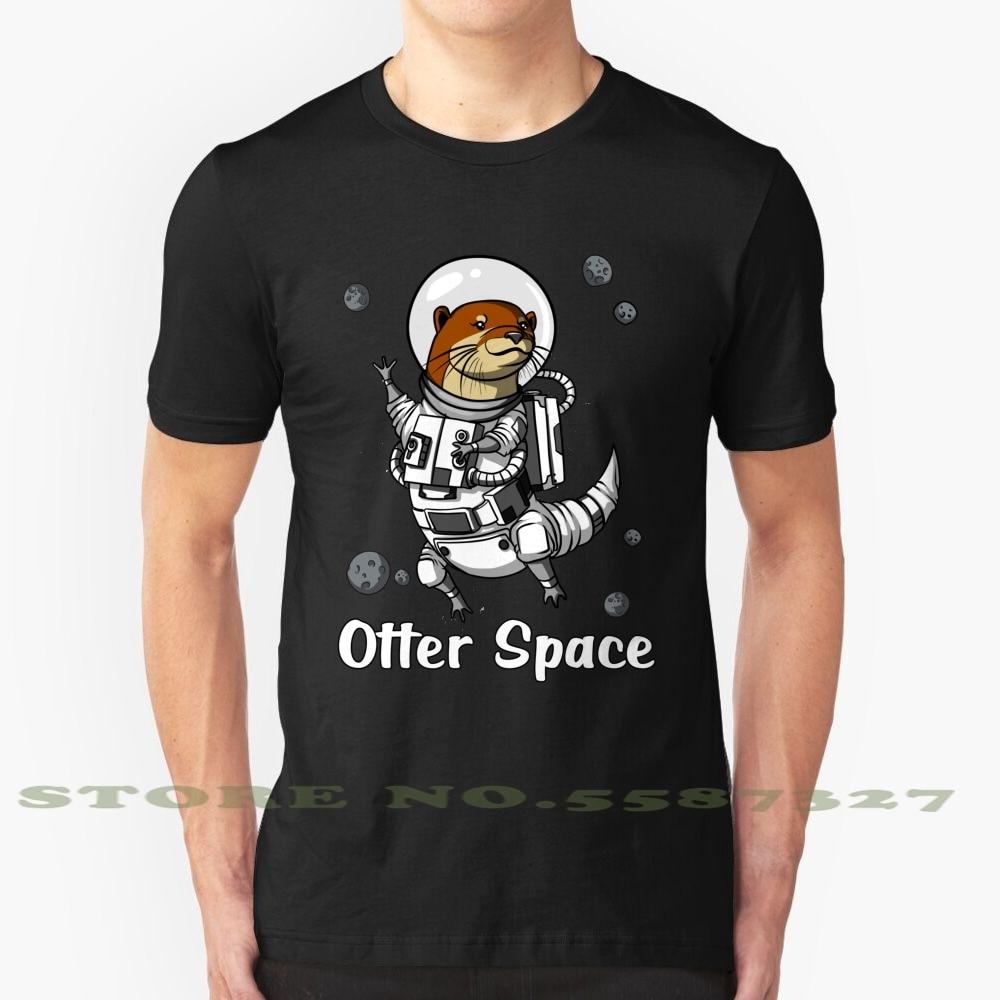 Otter astronauta del espacio negro blanco camiseta para hombres mujeres Otter espacio galayl Cosmic Universe Otter Lover Gift Funny Otter