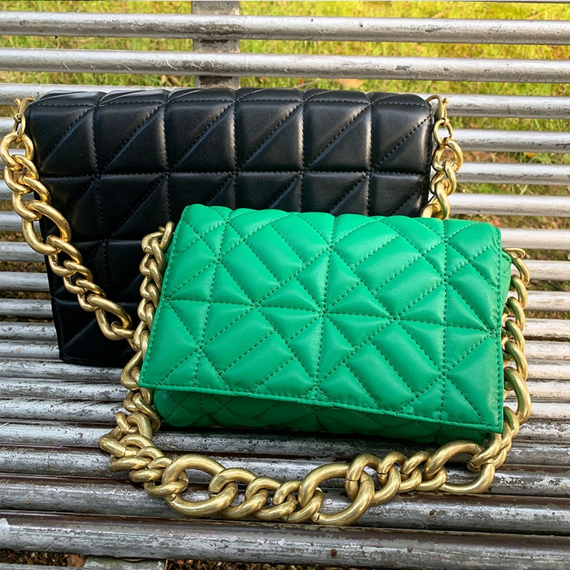 Branded Women's Shoulder Bags 2020 Thick Chain Quilted Shoulder Purses And Handbag Women Clutch Bags Ladies Hand Bag