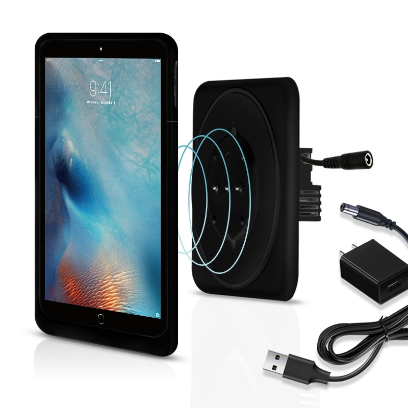 Wall mounted wireless charger bracket box for 9.7inch iPad Tablet PC bracket upgrade with adapter