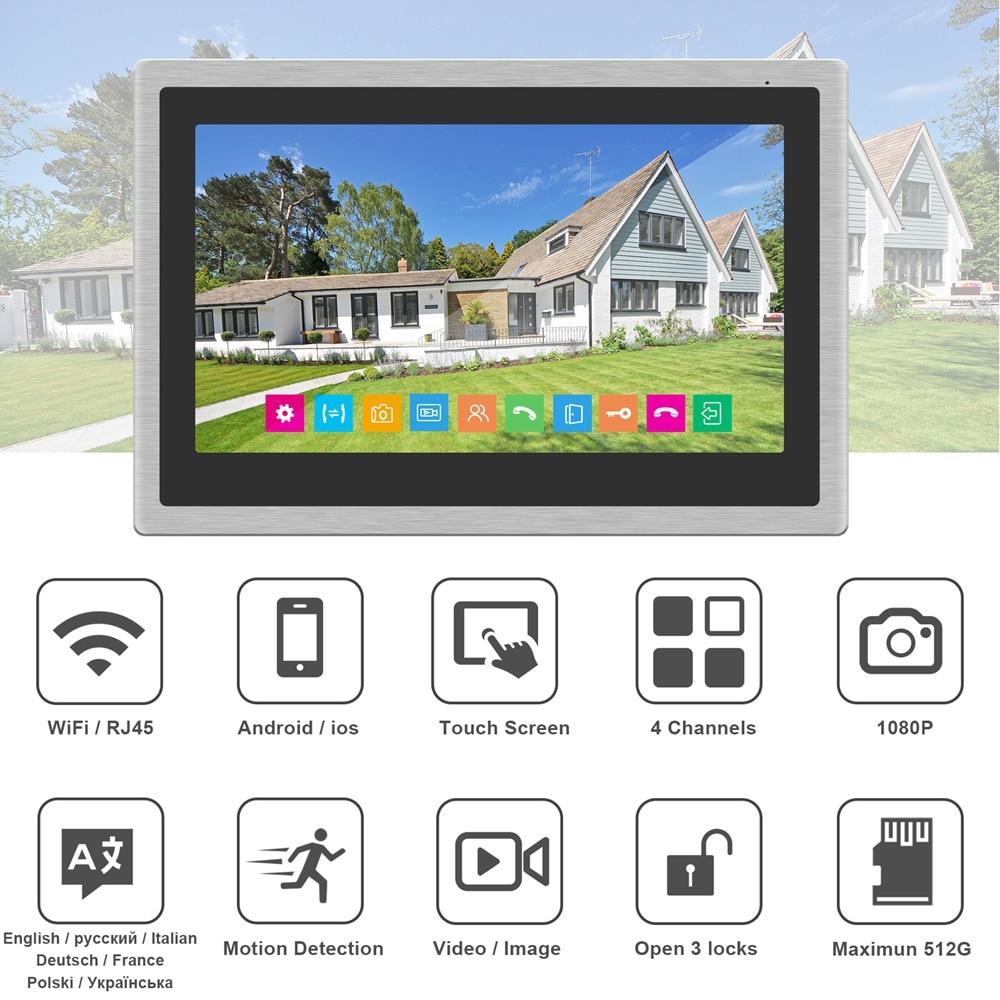 WIFI Video Intercom for Home Wireless Video Door Phone 10 inch Touch Screen Monitor 1080P Keypad Doorbell RFID / Password Unlock enlarge