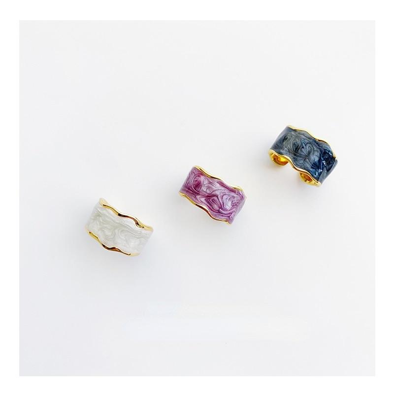Ymh Jardin Monet Retro Artistic Enamel Ring Female Niche Designer Open Ring Advanced Light Luxury All-Match French Japanese