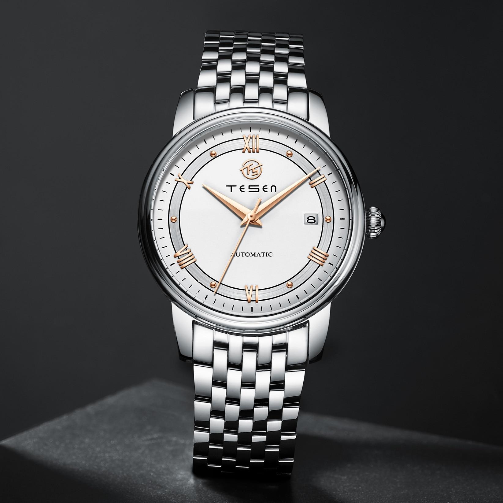 TESEN العلامة التجارية الفاخرة الرجال ساعات أوتوماتيكية التلقائي الميكانيكية 50 متر مقاوم للماء الأعمال عادية الفولاذ المقاوم للصدأ ساعة اليد