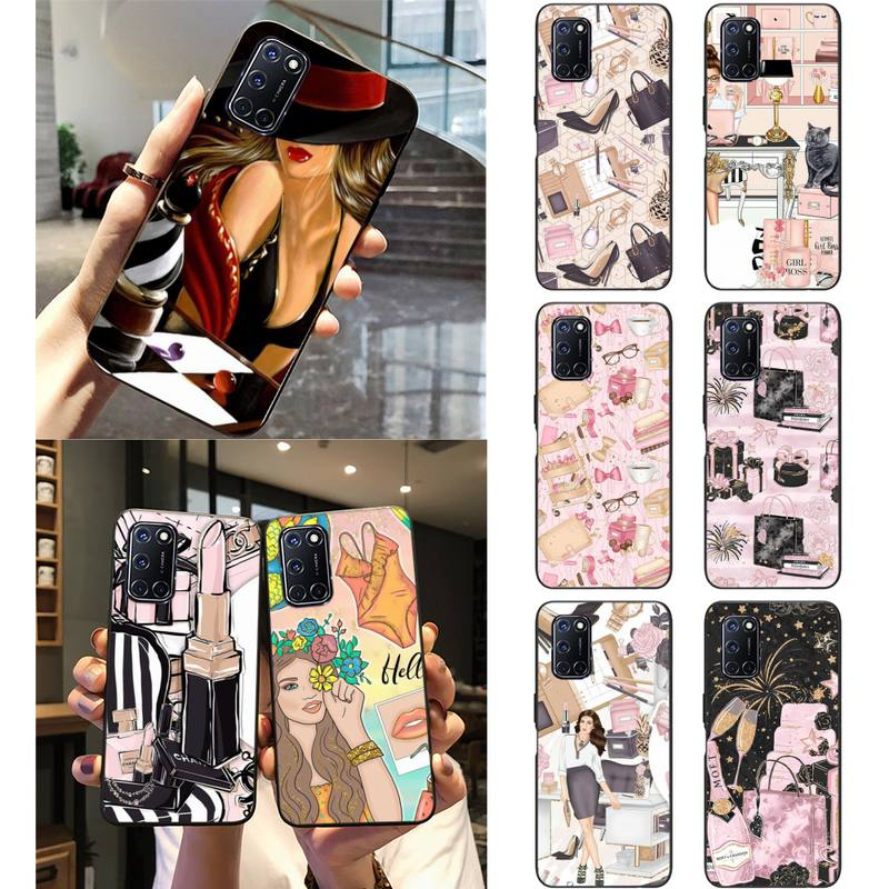 Zororong Fashion Woman Cosmetic Makeup Phone Case For Oppo Reno2 3 A77 92020 F11 Realme 2 3 5 6 Pro