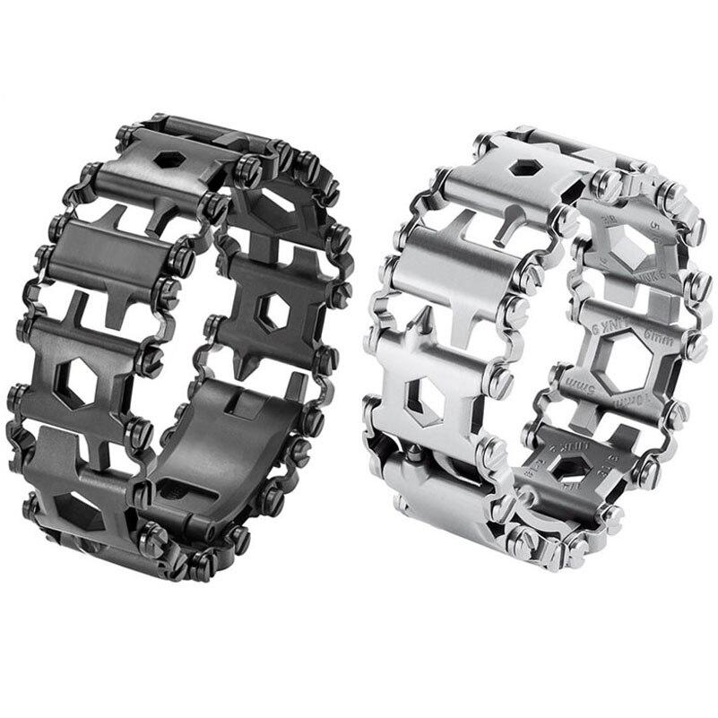 Tread Bracelet Stainless Steel Outdoor 29 in 1 Bolt Driver Kits Travel Spliced Wearing Bike Multifunctional Hand Tools
