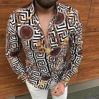 hot sale national style autumn mens long sleeved shirts casual fashion print lapel single breasted cardigan dinner party shirts