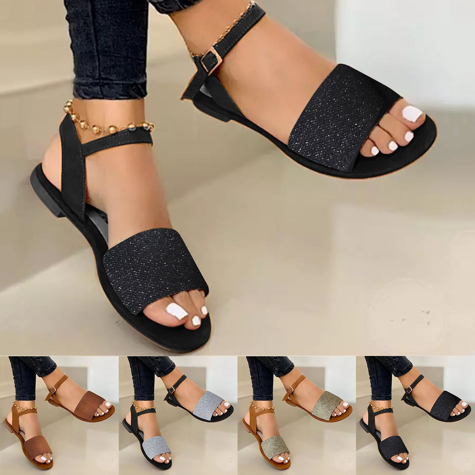 Women's Sandals Gladiator Open Toe Summer Large Size Pure Color Buckle Flat Casual Sandals Female Fl