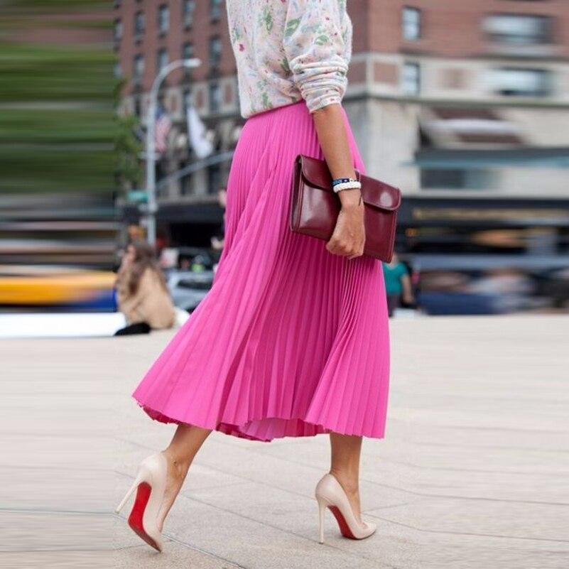 OL نمط التنانير الأنيقة طويلة تنورة الوردي الساخن ropa mujer مخصص طول الكاحل مطوي تنورة الشيفون فوشيا