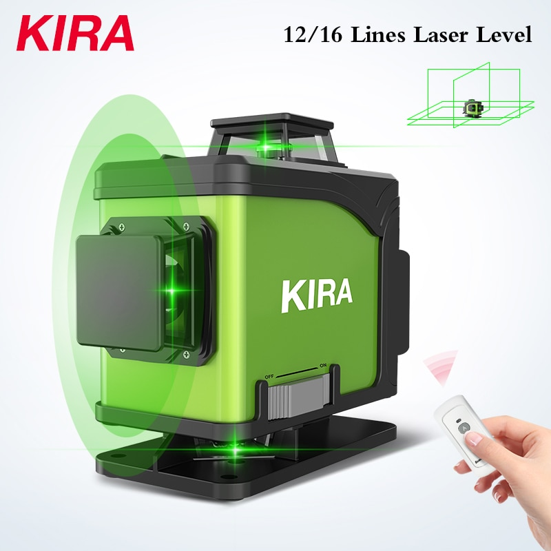 KIRA Level 16 Lines 12 Lines Laser  4D Self-Leveling 360 Horizontal And Vertical Cross Super Powerful Green Laser Beam Line 12 lines 360 3d green red laser level vertical and horizontal auto self leveling cross line purple coating laser