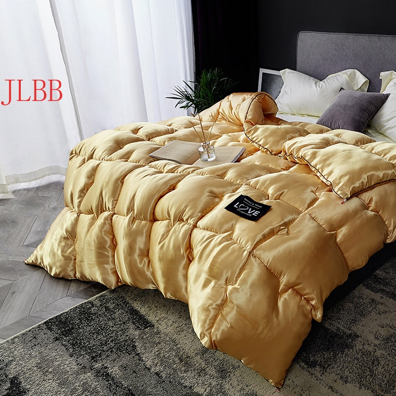 الشتاء المعزي تقليد الحرير رشاقته لحاف المنسوجات المنزلية خليط لحاف 220*240 سنتيمتر السرير البياضات الأوروبية نمط الأبيض السرير يغطي