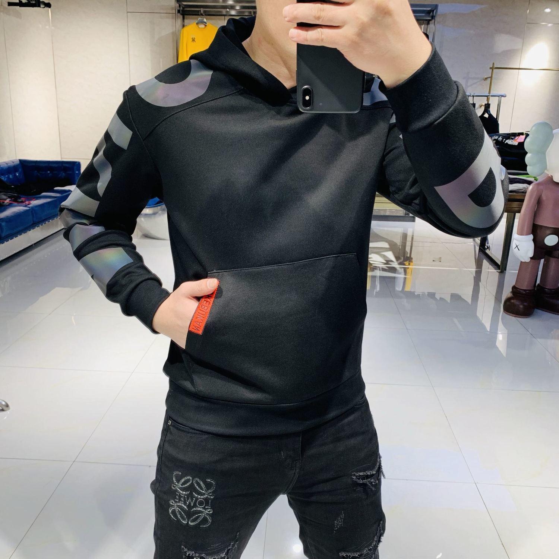 2020 autumn new letter printing trend slim korean hooded sweater men plus velvet