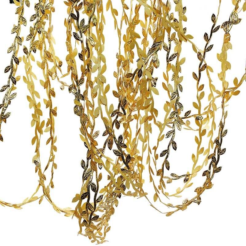 10m/rollo de hojas de seda de colores guirnalda de hojas artificiales de ratán para suministros para cumpleaños y boda DIY caja de regalo con corona decoración de envases