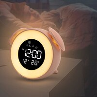 Bedside Sunrise Sunset Wake Up Light Digital Led Music Alarm Mirror Clock Bedroom Desk Calendar Snooze Clock Table Phone Charger