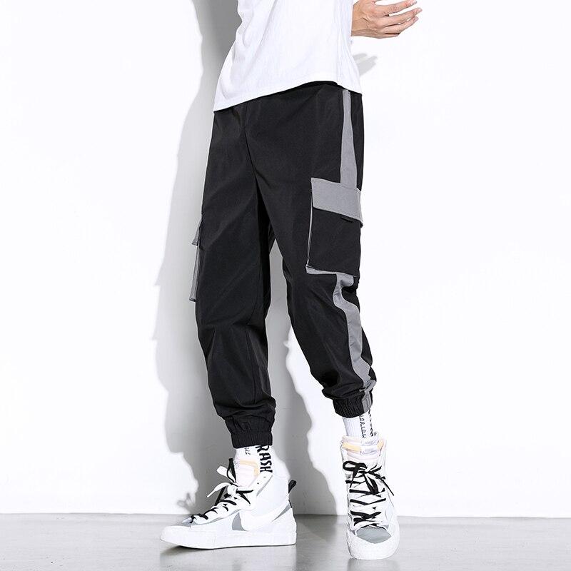 2021 уличная мужские черные джоггеры Штаны мужские большие карманы с лентами в стиле