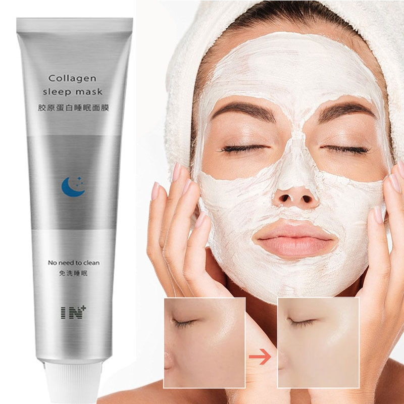 100ml Korea Collagen Sleep Mask Night Hydrating Sleep Mask Wash Free Repair Oil-Control Acne Treatment Shrink Pore Purify Skin