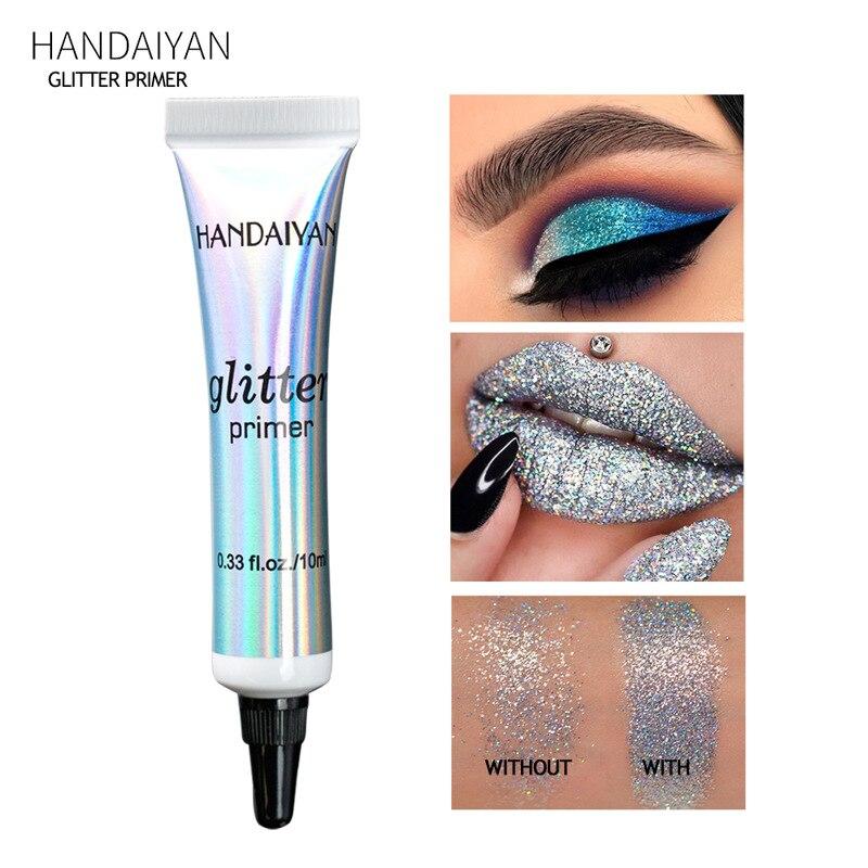 Handaiyan glitter primer lantejoulas primer olho maquiagem creme à prova dwaterproof água shimmer diamante rosto corpo pele brilhante festival maquiagem txtb1