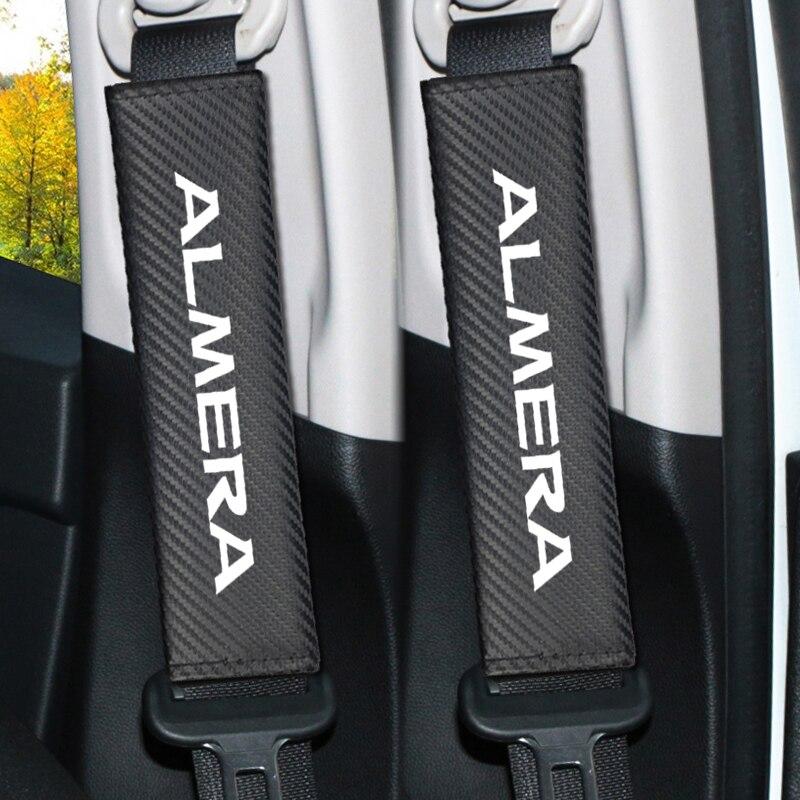 2 stücke Auto carbon seat belt schulter schutz abdeckung fall für Nissan ALMERA Teana Skyline Juke