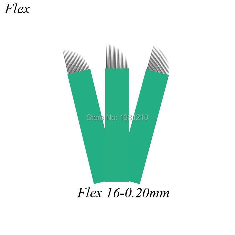 0,20mm 200 Uds Manual Microblading 16 pines verde Microblading aguja hojas lámina Agulha Sobrancelha Tebori Microblade