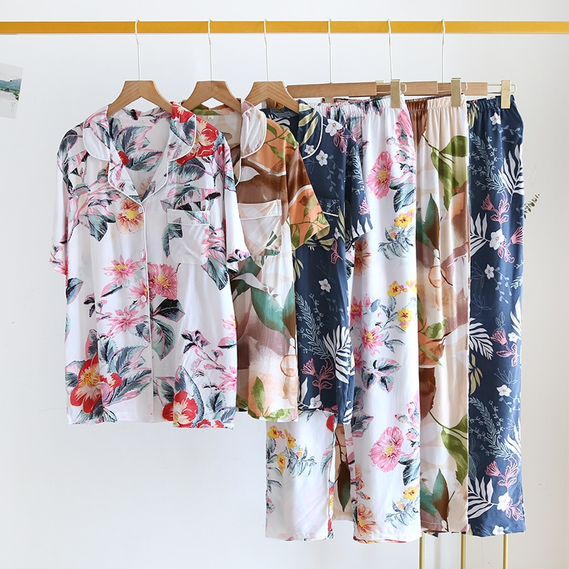 Летний пижамный комплект для женщин, хлопковые шелковые брюки с коротким рукавом, Дамская одежда для сна, крутая свободная модная повседнев...