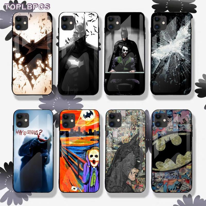 Toplbpcs dc comics batman coringa harley vidro temperado telefone capa para iphone 8 7 6s plus x xr 11 pro xs max fundas