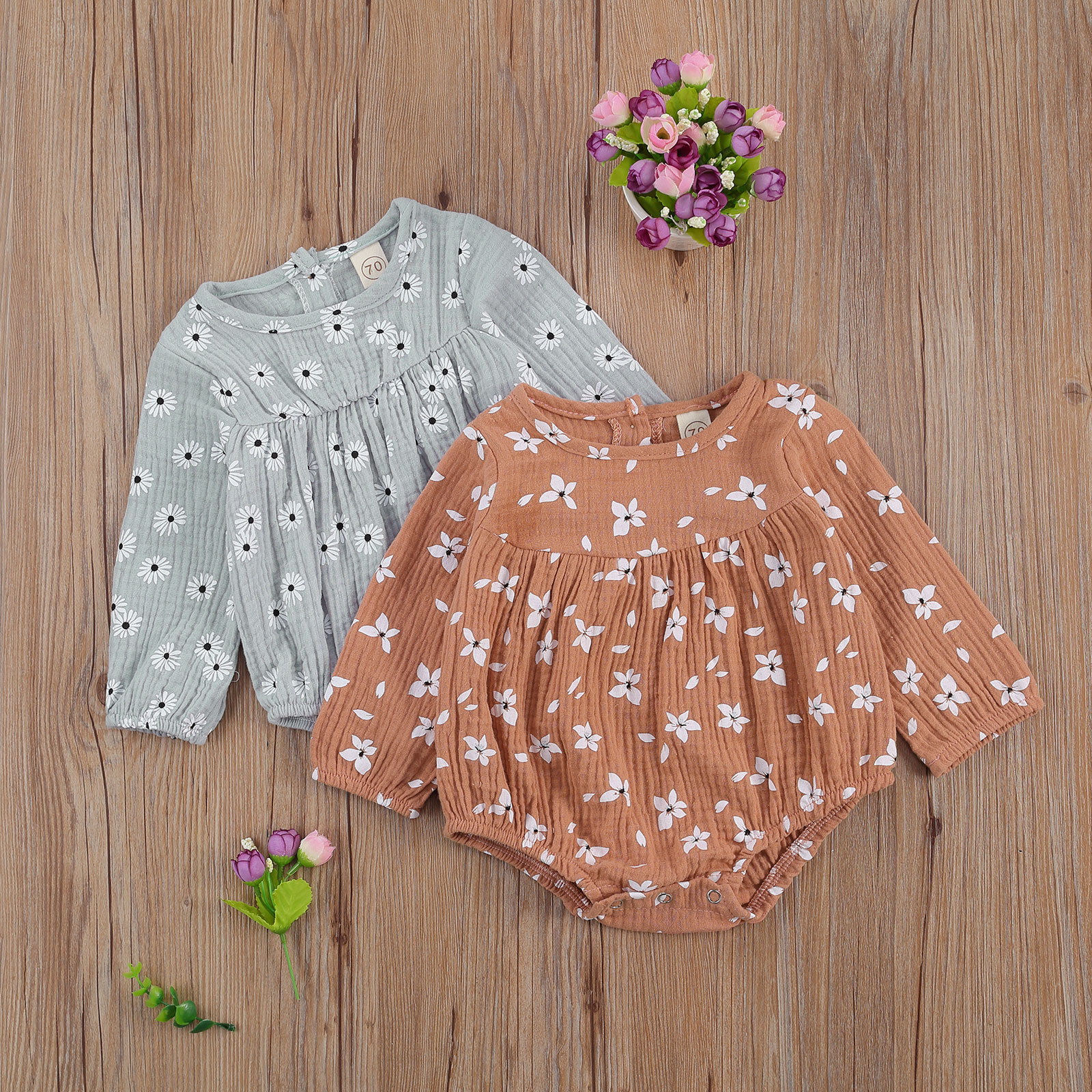 Newborn Baby Girl Romper  Long Sleeve Round Neck Daisy Print Bodysui Outfit Sunsuit 0-18months