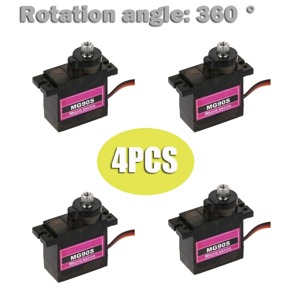 HIINST 4PCs MG90S Micro Gear High Speed 9g Servo for RC Plane Helicopter Boat Car 4.8V- 6V Car Boat