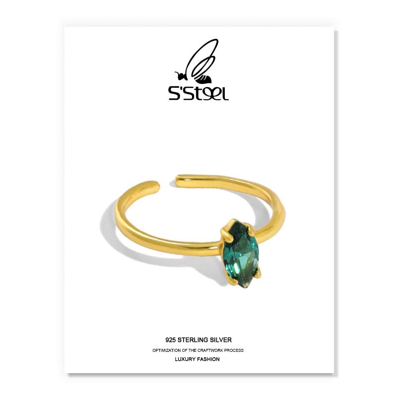 S'STEEL циркон кольцо из стерлингового серебра 925 подарок для Для женщин минималистский Золотое индивидуализированное кольцо Bijoux (украшения с...