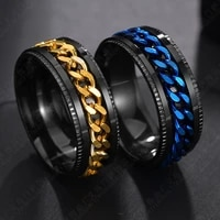 let differy cool stainless steel rotatable men ring high quality spinner chain punk women for party gift jewelry