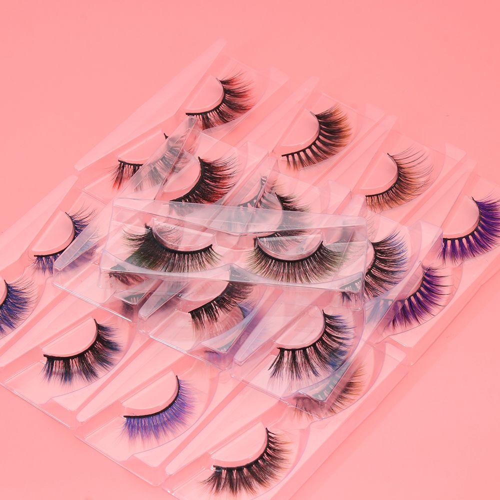 1 Pair Soft Curly Handmade Drama 6D False Eyelashes Faux Mink Lashes Colorful