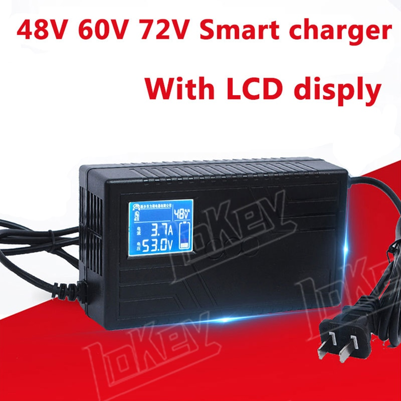 48V 60V 72V Lead acid battery Lithium li ion LiFepo4 charger with LCD Display screen for scooter & ebike