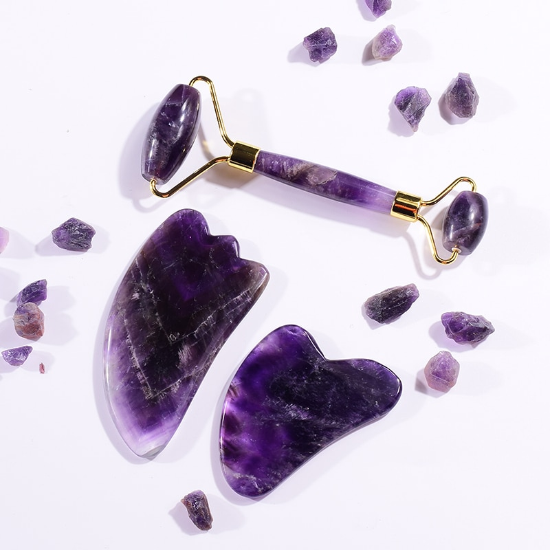 Amethyst Massager Natural Stone Facial Roller Gua Sha Tools Set SPA Acupuncture Scraping Crystal Bod