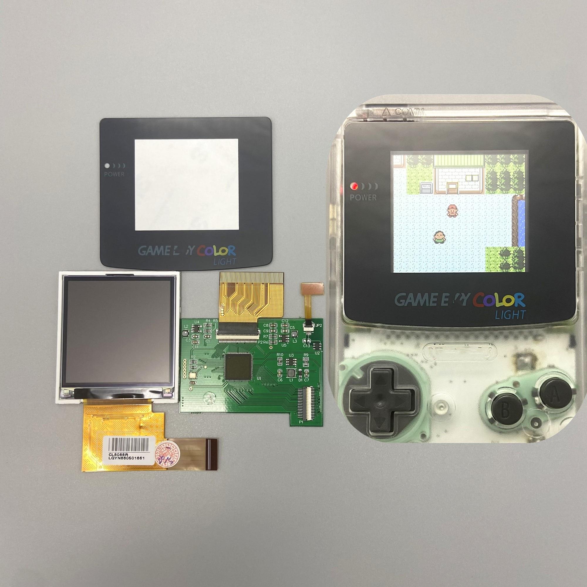 شاشة LCD عالية السطوع 2.2 بوصة لـ Gameboy COLOR GBC ، التوصيل والتشغيل بدون لحام وقطع الغلاف