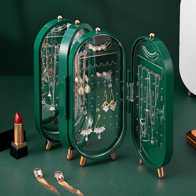 Jewelry Organizer Multifunctional Folding Display Rack Jewelry Box for Decoration Storage Jewelry Door with Mirror Ring Box