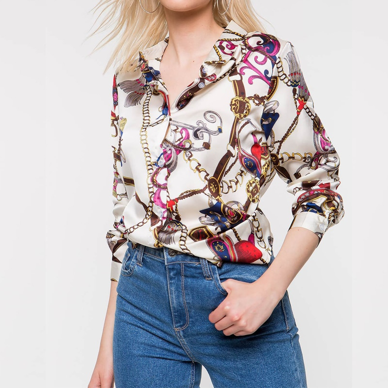 Office Lady Chain Pattern White Chiffon Blouse OL Style V-neck Long Sleeve Blouse Shirt Women Spring Casual Tops