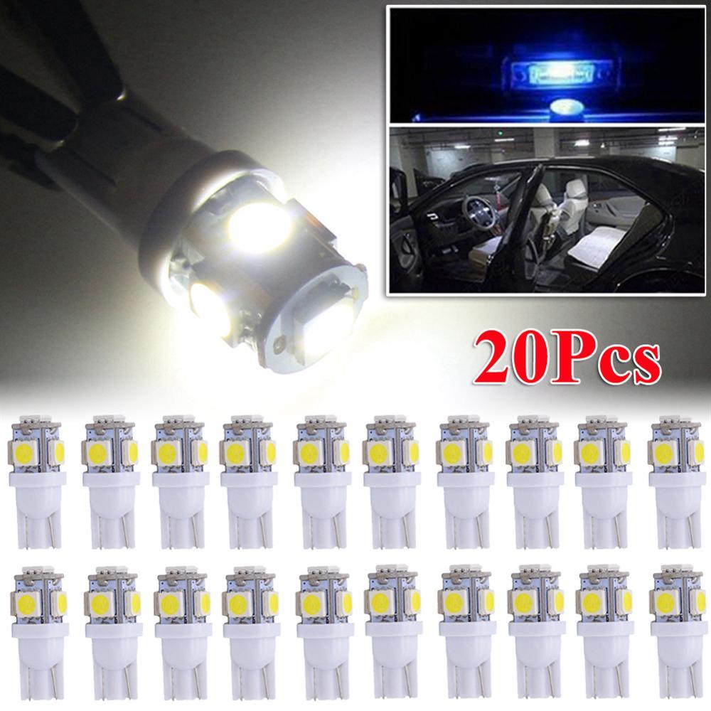 SUHU 20 pièces T10 plaque dimmatriculation LED voiture intérieur lumières ampoules 12V 6000K White168 2825 194 W5W inverse ampoules clignotants accessoires