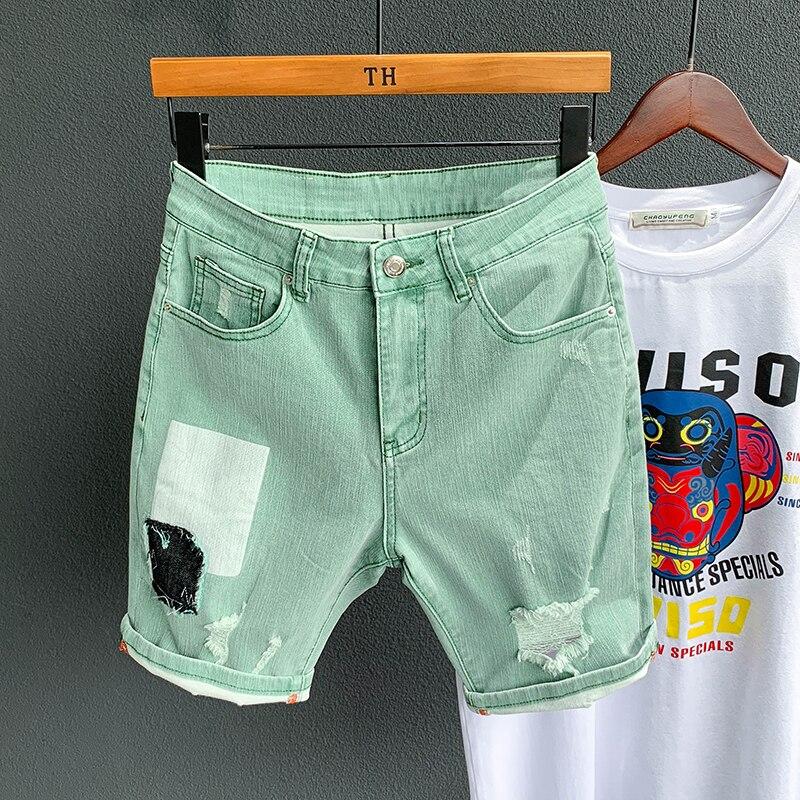 Green denim short Men Short 2020 Summer Cargo jeans short Men Casual Brand Classic Beach Men hole Ripped Shorts Bermuda