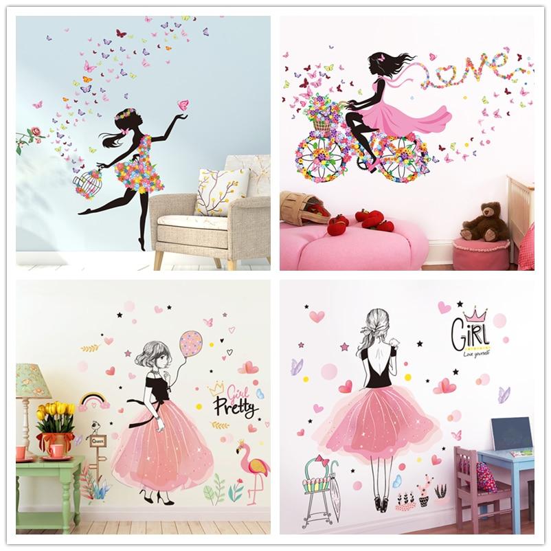 [Shijuekongjian] pegatinas de pared de hada vinilo DIY mariposas flores Mural calcomanías para casa niños habitación Bebé Decoración