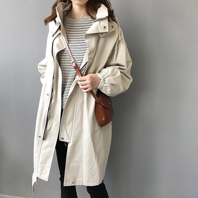 2020 New Chic Long Trench Coat Women Korean Autumn Winter Overcoat Female Fashion Slim Hooded Casual