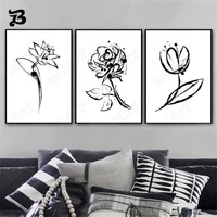 canvas painting black and white flowers minimalist style wall art nordic posters and prints wall pictures for living room decor