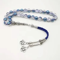 burst crystal tasbih blue beads with leather tassel new style crystal women prayer beads 33 66 99beads muslim rosary