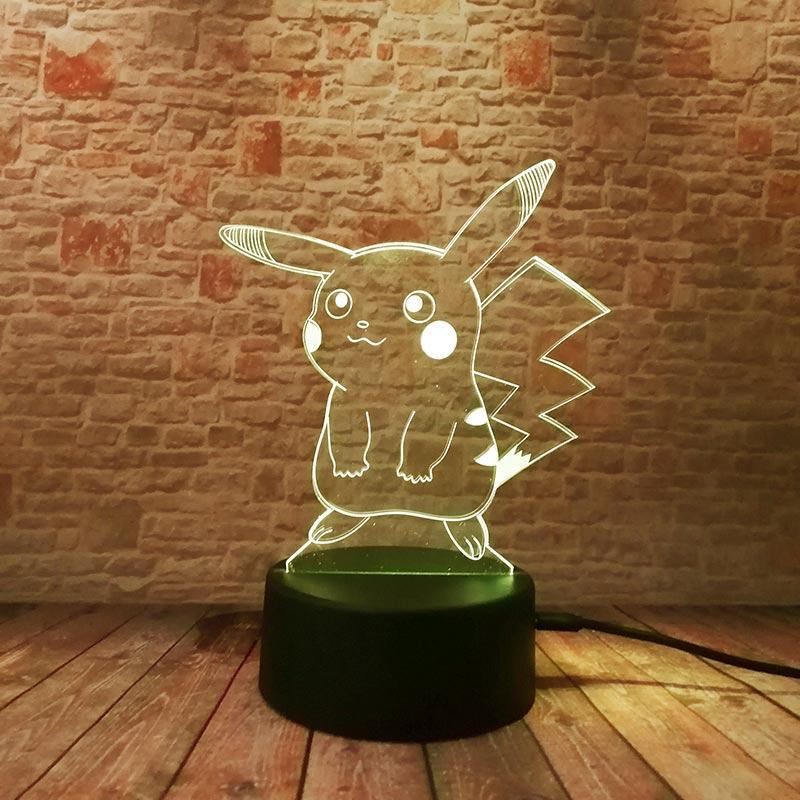 Bonita lámpara Led 3D de ilusión, luz de hadas con toque colorido, luz de noche intermitente, Pokeball Pikachu, modelo Anime Figma, juguetes para bebé