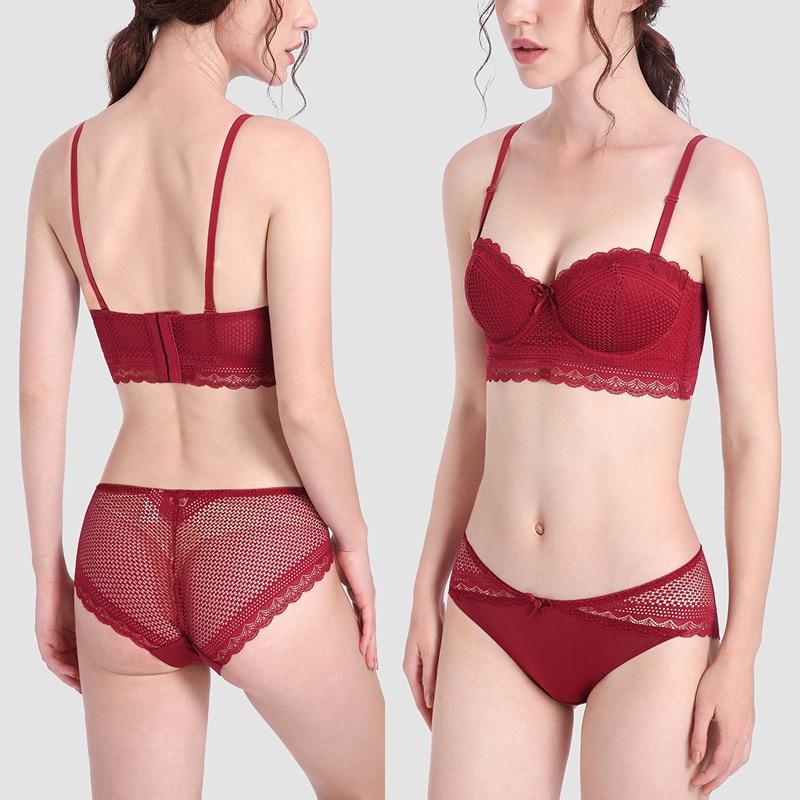 Women Sexy Lace Bra Briefs Set Fashion Non-slip Invisible Lingerie Wirefree Bralette Underwear 1/2 Cup Push Up Brassiere